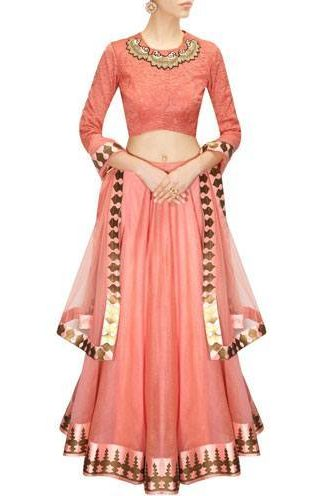 Blush pink printed lehenga set