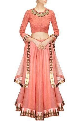 Blush pink printed lehenga set