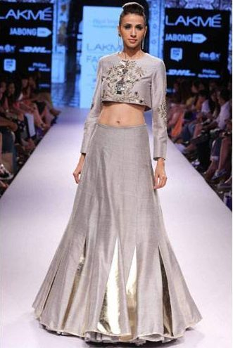 Grey embroidered crop top with matching lehenga