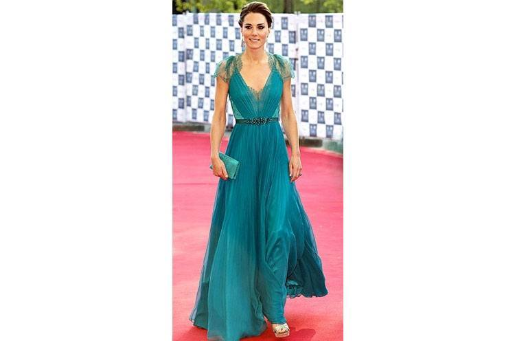 Kate Middleton in an emerald green