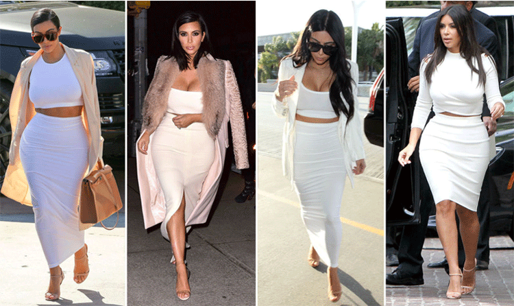 Kim Kardashian Wears Crop tops and pencil skirts