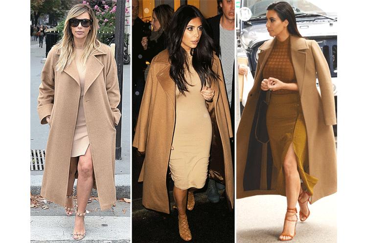 Kim Kardashians camel coat