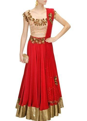 Pink and red floral sequins embroidered lehenga