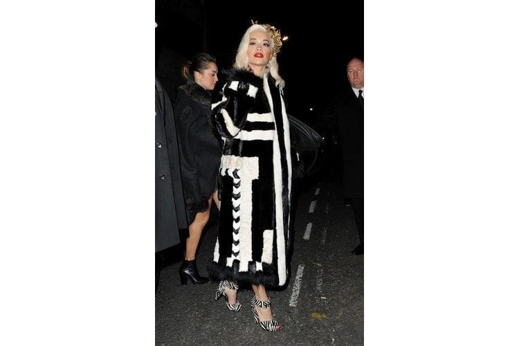 Rita Ora Black and White Zebra Print Sandals