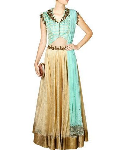 Sea green and gold floral sequins embroidered lehenga