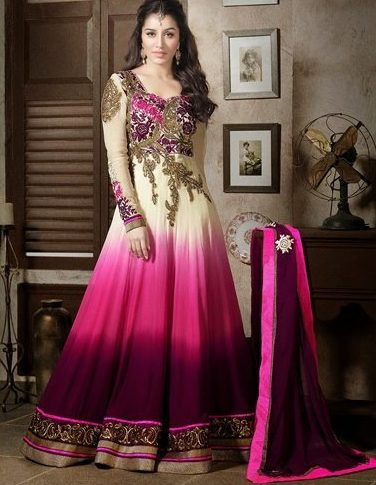 Anarkali in ombre colours