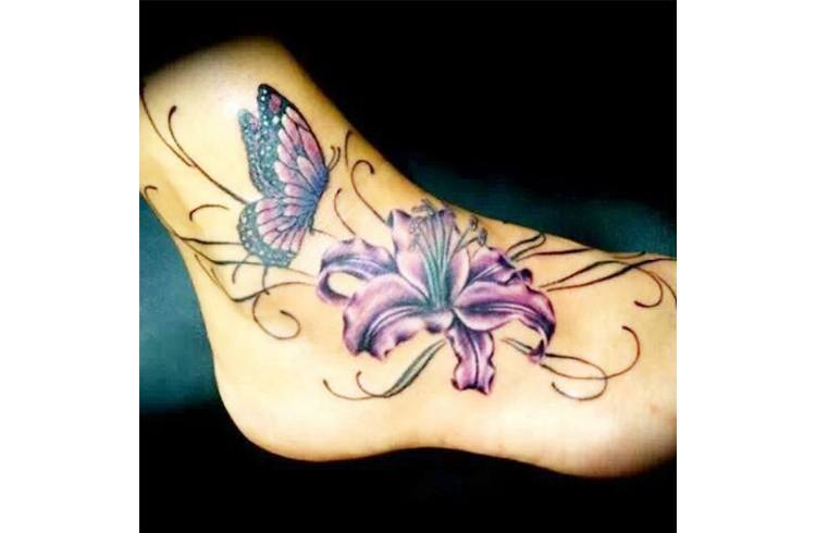 Butterfly foot tattoo designs