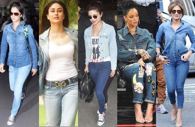 celebrities in denim on denim