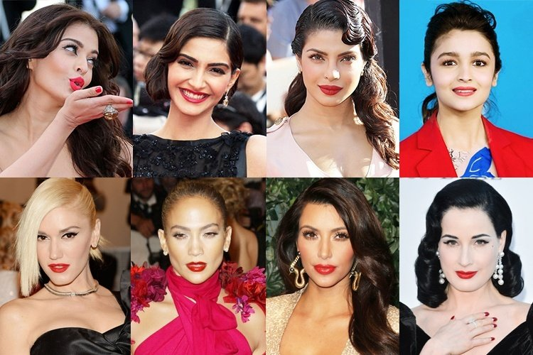 Celebrities with Red Lipstick