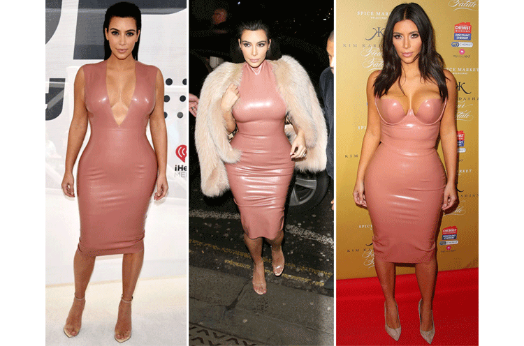 kim kardashian latex leather dress