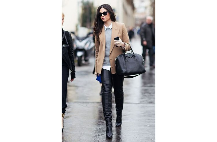 Leather pants with leather boots