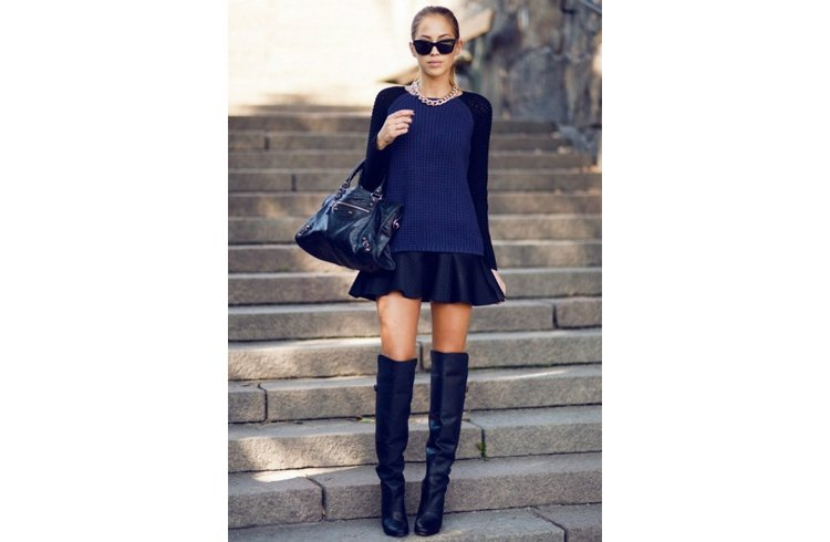Leather skirt with over-the-knee boots