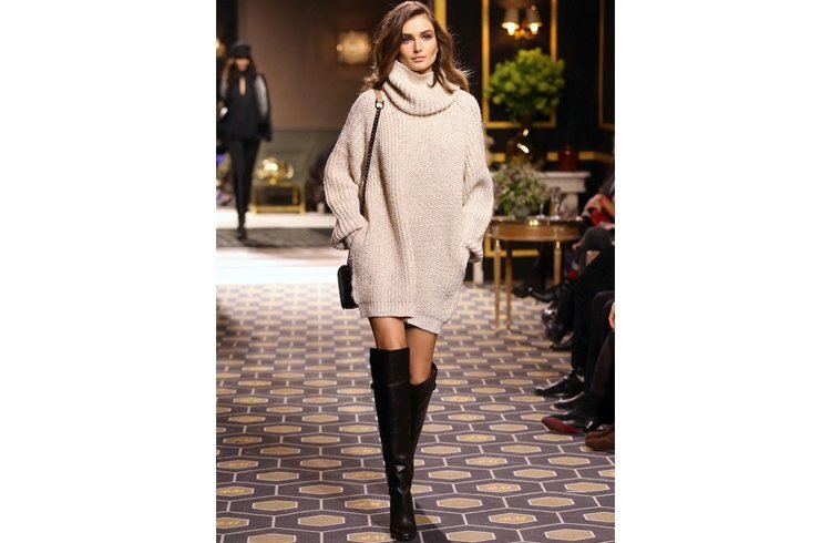 Over the knee boots with sweater