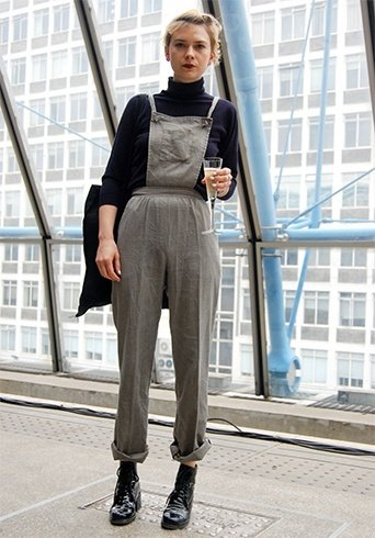 overall with a turtleneck top