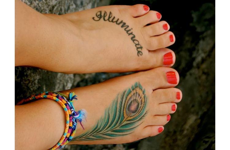 Peacock foot tattoos