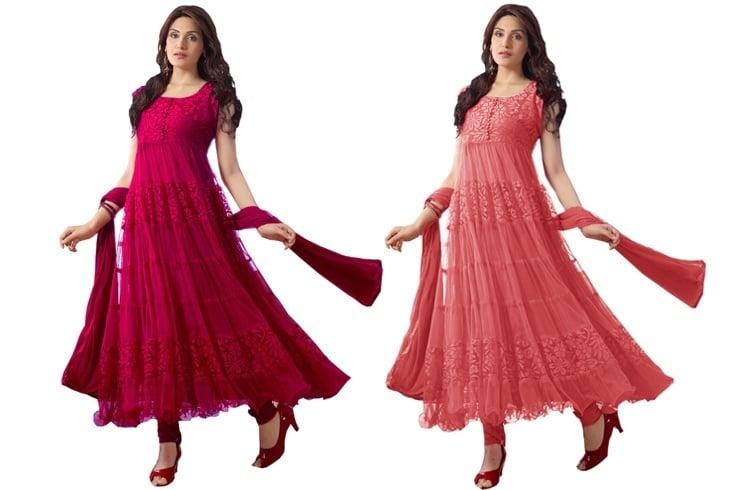 Pink anarkali dresses for eid