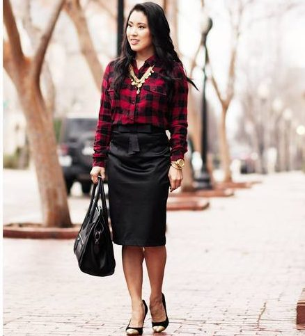 plaid blouses with a pencil skirt