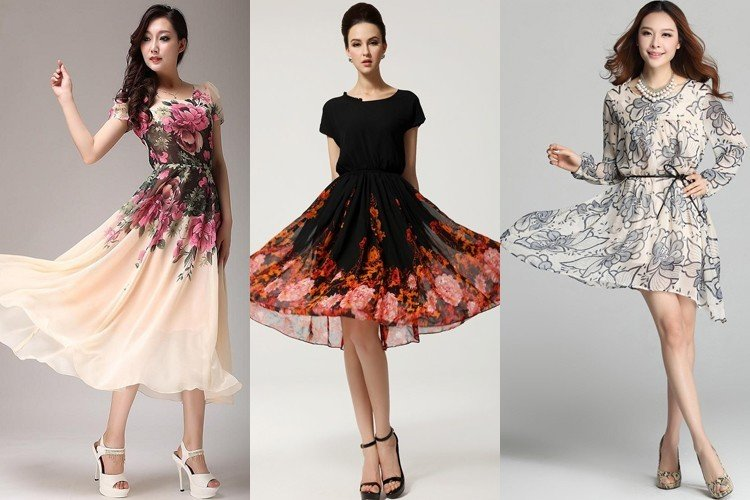 Printed Chiffon Dress Designs