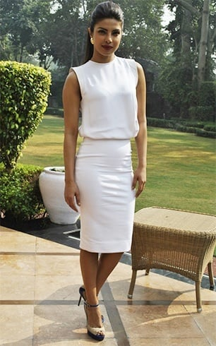 Priyanka in Victoria Beckham white dress