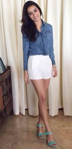 Shradda Kapoor in denim shirt