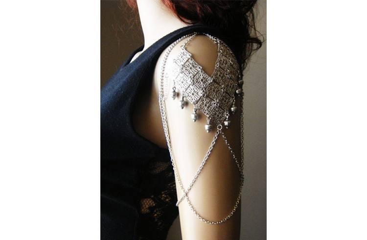 Silver arm cuff bracelet