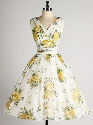 Vintage printed chiffon dress designs