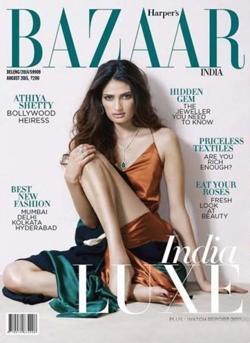 Athiya Shetty Hot on Harper's Bazaar India Magazine Cover