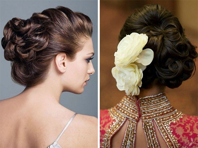 Curled Updo Hairstyle for Indian Wedding