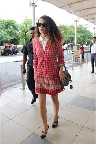 Kangana Ranauted red checkered dress by Aneeth Arora