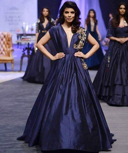 Manish Malhotra Royal Blue Gown With Zardosi