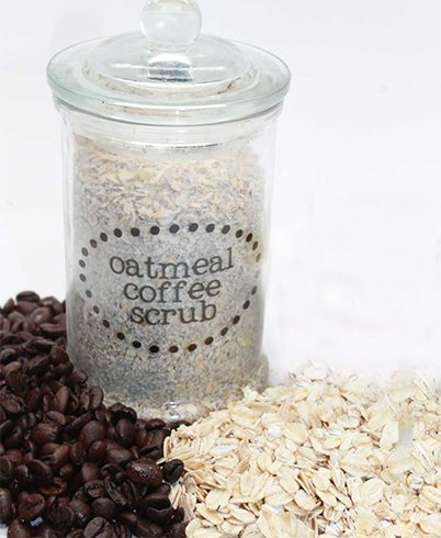 Coffee and oatmeal for DIY Pedicures