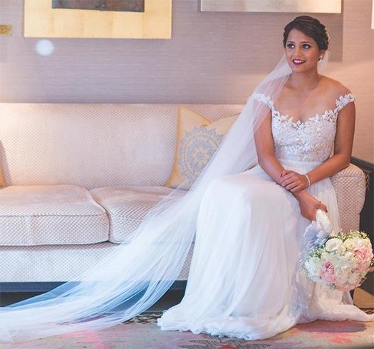 Dipika Pallikal wedding gown by Reem Acra