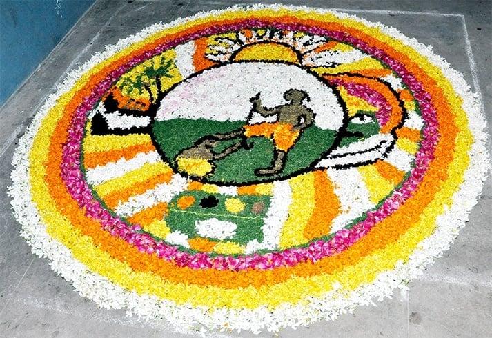 Kerala onam pookalam
