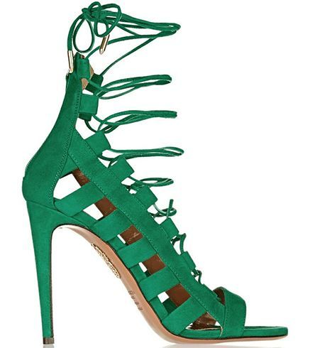 Lace up caged heels