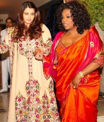 Oprah in silk saree