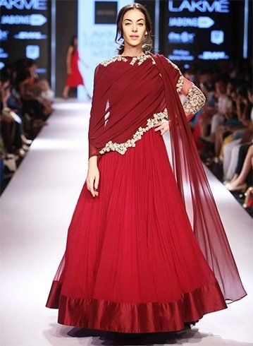 Ridhi Mehra maroon and red dress