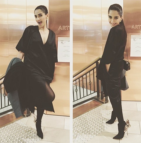 Sonam Kapoor in black dress by love birds