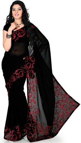 Black and red designer sarees