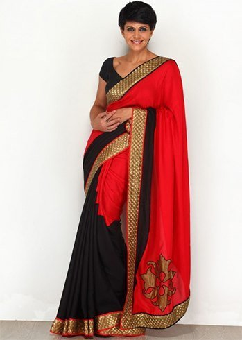 Black and red party sarees