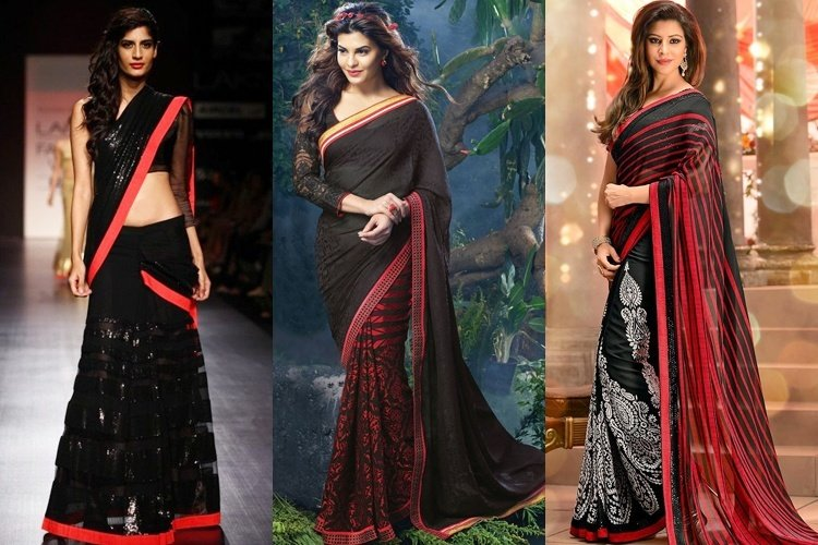 Black And Red Partywear Saree Designs