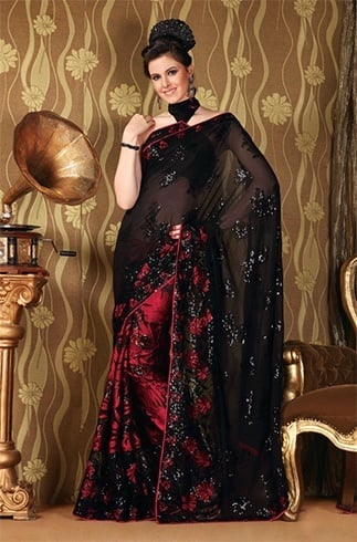 Embrace The Charisma Of Black And Red Partywear Saree Designs