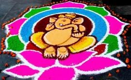 Creative Ganesh Rangoli Designs