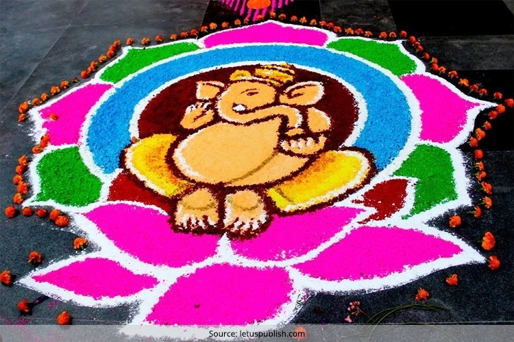 Ganesh Rangoli Designs With Dots