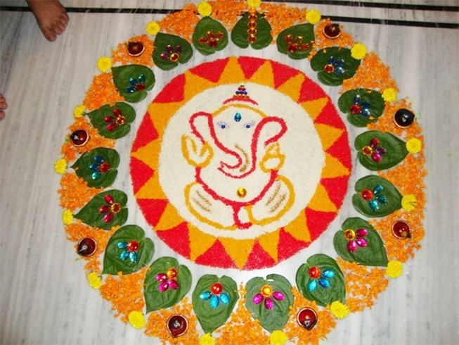 Happy Ganesh Ji Rangoli Designs Images for free download