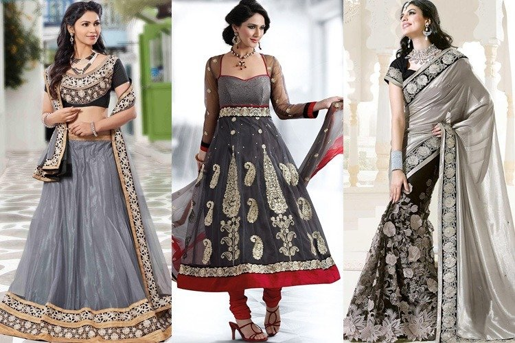 Grey Color Dresses for Navratri Day 1