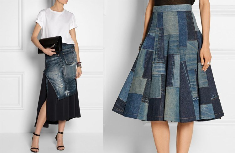 Recycle jeans midi skirt
