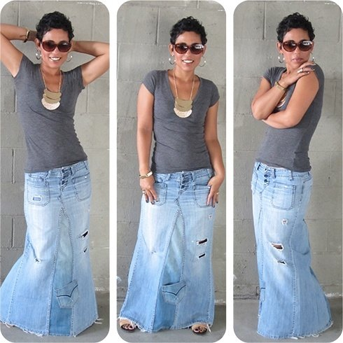 Recycle jeans maxi skirt