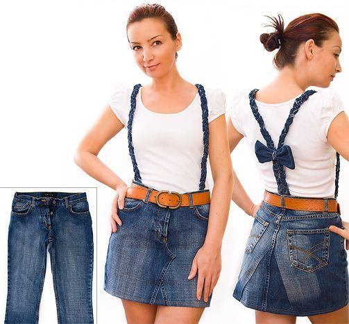 Recycle jeans mini skirts