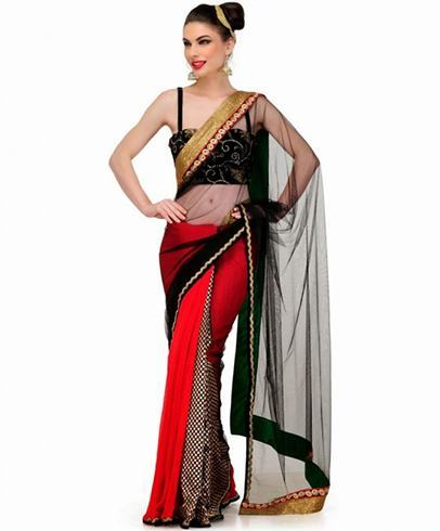 Red and black partywear sarees