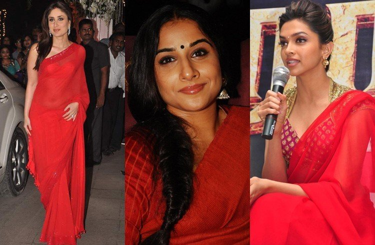 Red Plain Sarees